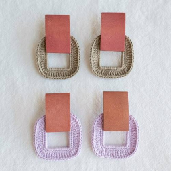 MERRYMOTIVE#[MERRYMOTIVE] Square wood and knit earring (20ss03)_MX0XA056