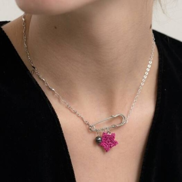MERRYMOTIVE#[MERRYMOTIVE] Metalic pink star with mix chain necklace_MX9XX0200